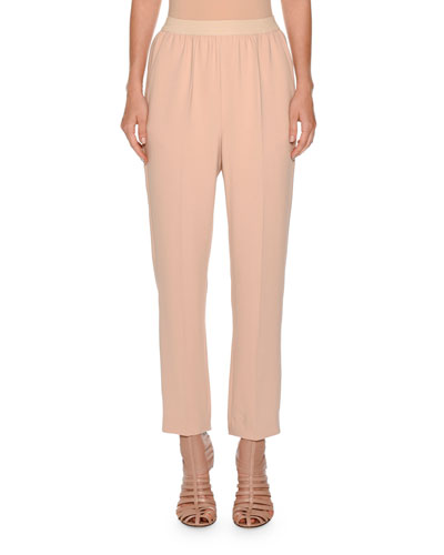 Cropped Sport Crepe Pants, Neutral
