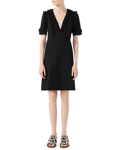 Ruffled-Neck Dress, Black