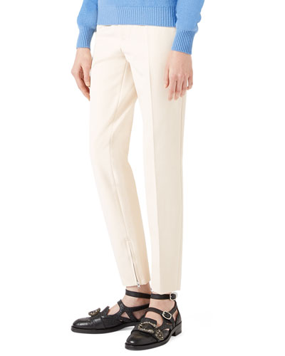 Cotton Stretch Leggings, Cream