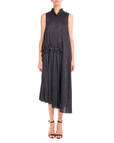 Pinstriped Sleeveless Gathered-Waist Midi Dress, Navy