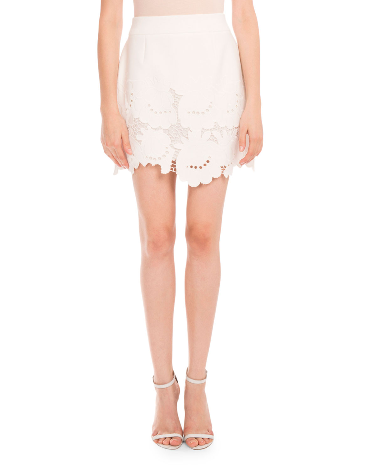 Delft-Embroidered Lace Skirt, Ivory