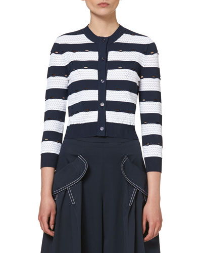 Nautical-Stripe 3/4-Sleeve Cardigan, Navy/White