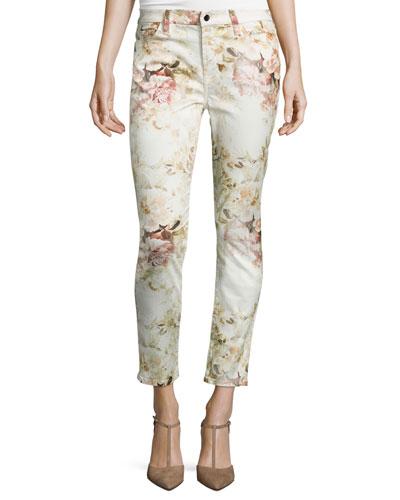 Vintage Garden Floral-Print Skinny Ankle Jeans, Multi