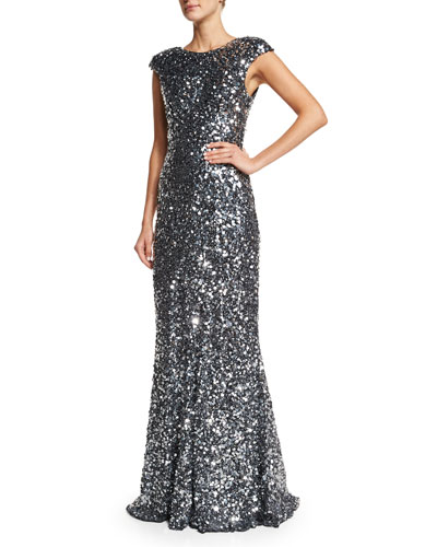 Alyssa Cap-Sleeve Sequined Gown, Silver