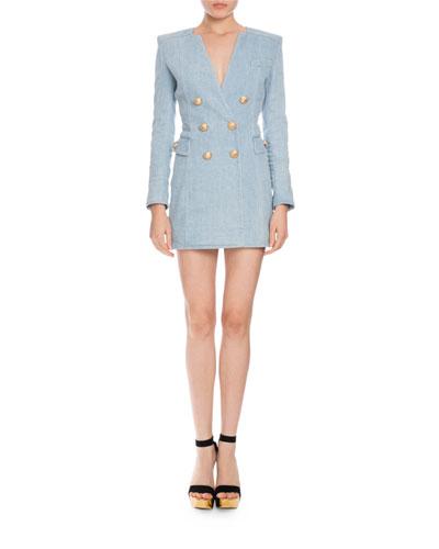 Double-Breasted Denim Mini Dress, Light Blue