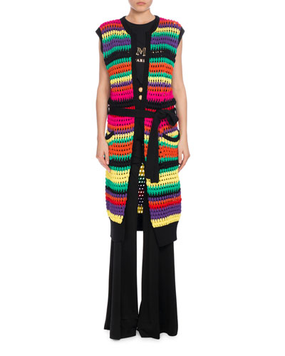 Horizontal-Stripe Knit Vest, Multi/Black