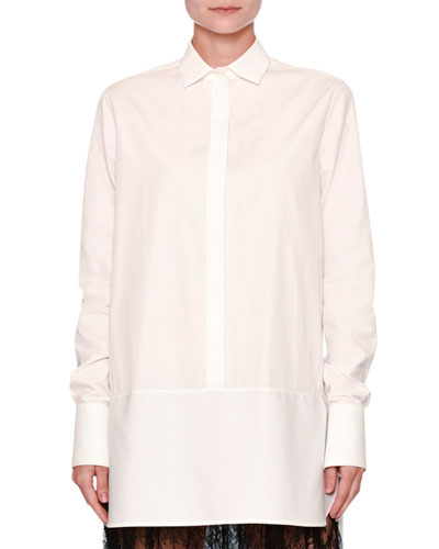 Lace-Trim Poplin Tunic Blouse, White/Black