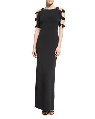 Bow-Sleeve Column Gown W/Cutouts, Black