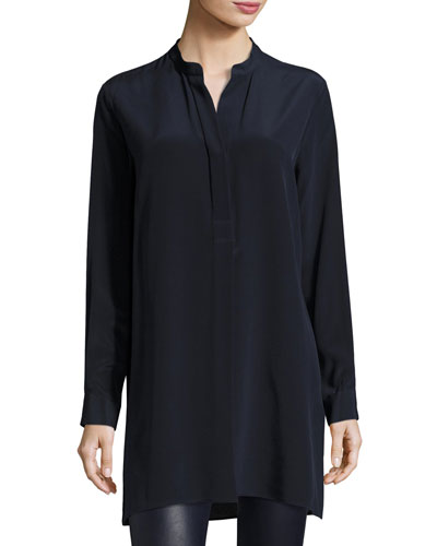 Dara Long-Sleeve Silk Blouse, Navy