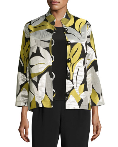 Easy-Fit Leaf Jacquard Jacket, Multi, Plus Size