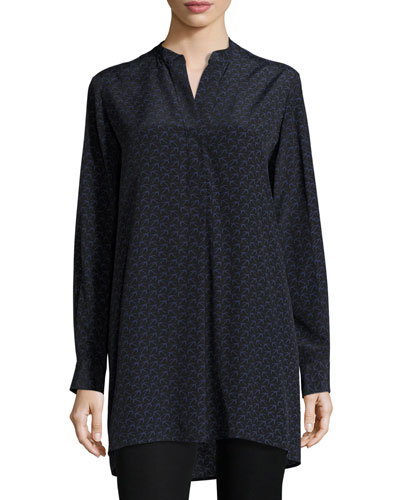 Dara Bird-Print Silk Tunic, Black