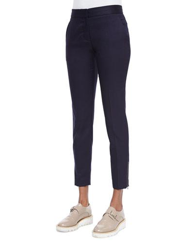 Vivian Skinny Suiting Zip-Cuff Ankle Pants