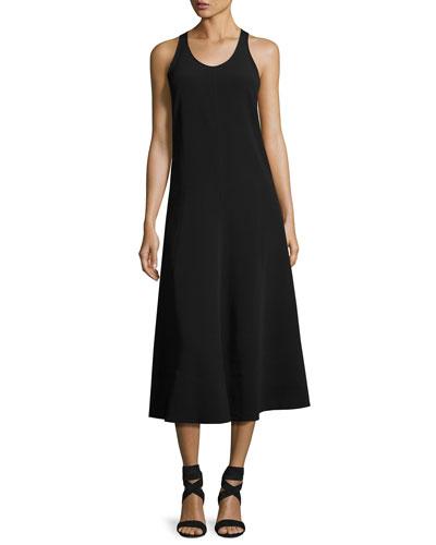 Penn Sleeveless Ribbon-Strap Midi Dress, Black