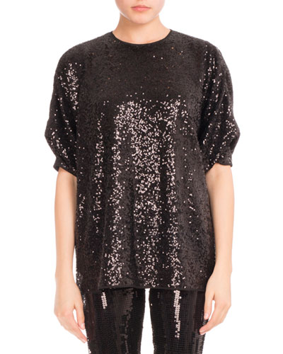 Sequined Tucked-Sleeve Top, Black