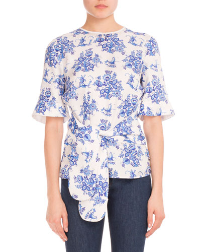 Delft-Print Tie-Front Tee, Ivory/Blue