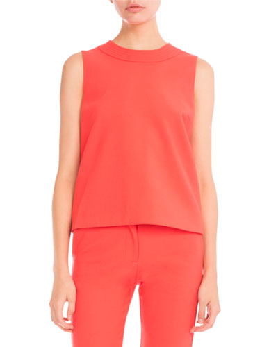 Stitched-Trim Sleeveless Top, Hot Coral