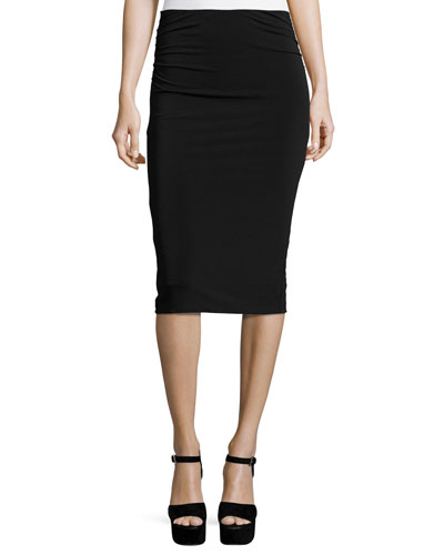 Ciera Ruched-Side High-Waist Pencil Skirt, Black