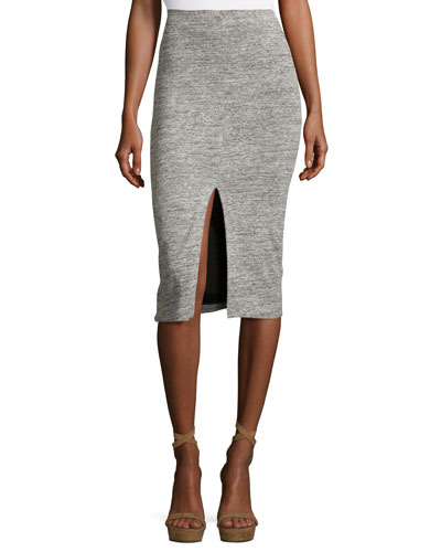 Spiga Slit-Front Knit Midi Pencil Skirt, Gray