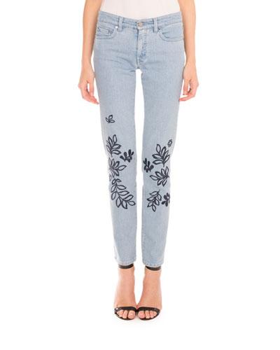 Leaf-Embroidered Skinny Jeans, Blue