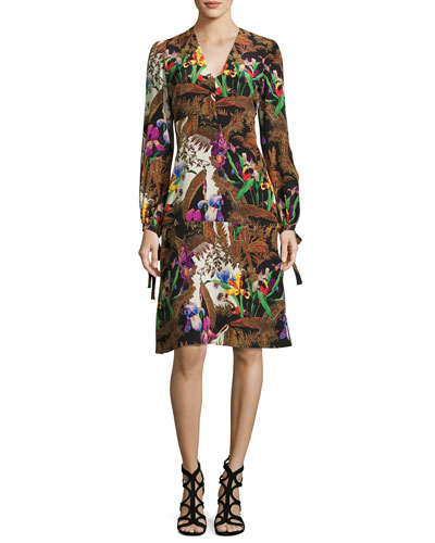 Jungle-Print Tie Long-Sleeve Dress, Black