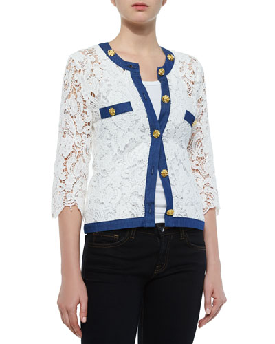 3/4-Sleeve Crochet Cardigan W/ Denim Trim, Petite