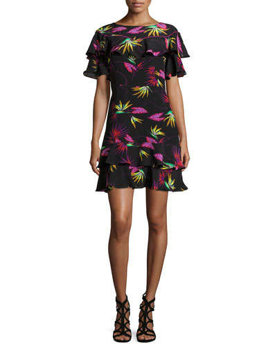 Jungle-Print Ruffled Dress, Black