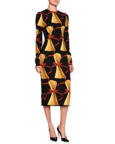 Spaghetti-Print Long-Sleeve Dress, Black Pattern