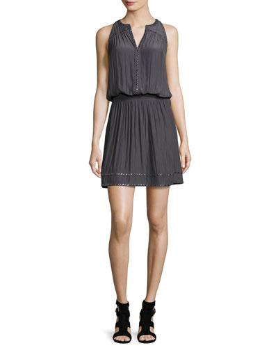 Brittany Studded Blouson Dress, Gunmetal