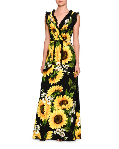 Sunflower Lace-Trim Sleeveless Gown, Black/Yellow