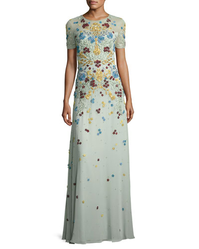 Floral-Appliqué Short-Sleeve Illusion Gown
