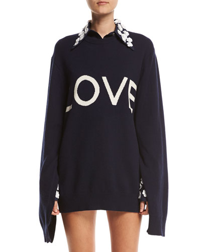 Love Oversized Crewneck Sweater, Navy