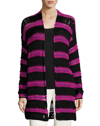 Striped Net Knit Cardigan, Black/Pink
