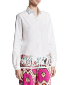 Embroidered-Hem Cotton Blouse, White