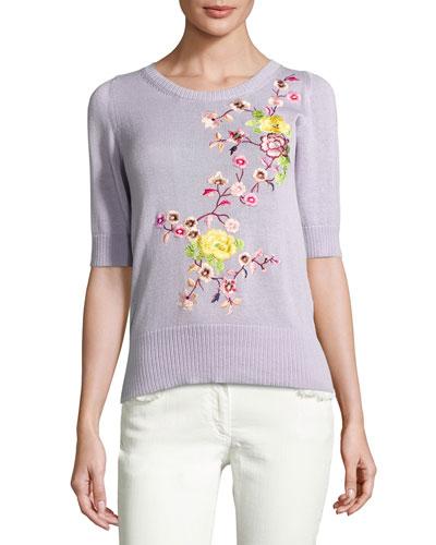 Floral-Embroidered Half-Sleeve Sweater, Purple