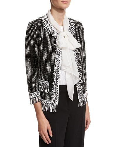Nita Fringe Tweed 3/4-Sleeve Jacket, Black/White