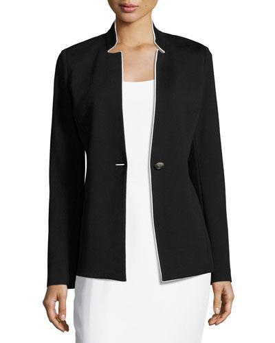 Milano Knit Notch-Collar Jacket, Black/White