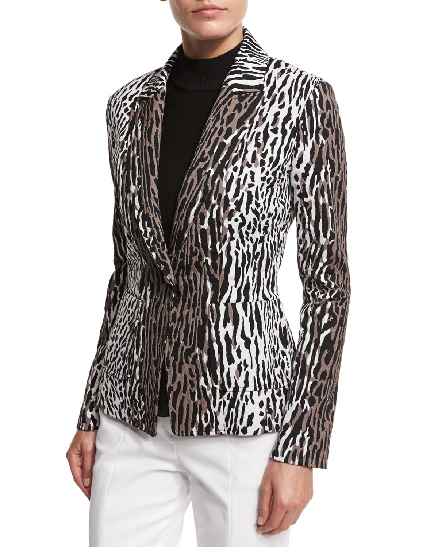 Leopard-Print Jacquard Jacket, Leopard