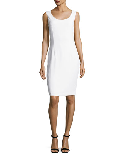 Classic Cady Scoop-Neck Dress, White