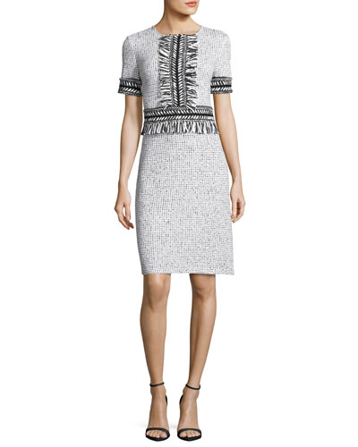 Nita Speckled Tweed Short-Sleeve Dress, White/Black
