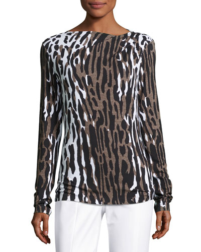 Draped Leopard-Print Long-Sleeve Tee, Leopard