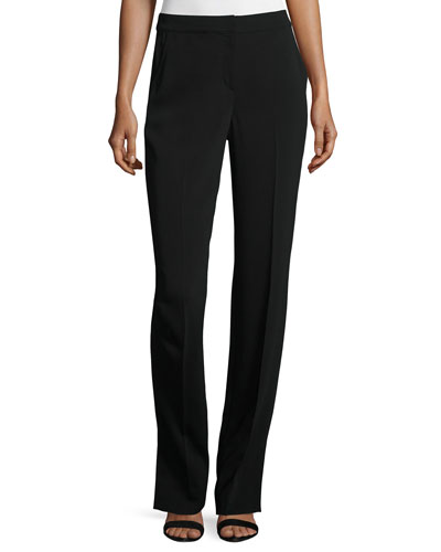 Classic Stretch Cady Straight-Leg Pants, Black