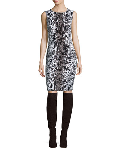 Stretch Mini Leopard Jacquard Dress, Leopard