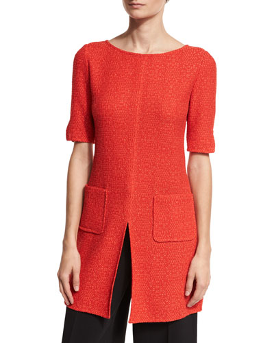 Ratana Knit Bateau-Neck Half-Sleeve Top, Red