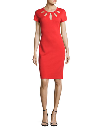 Cutout-Neck Milano Knit Dress, Red