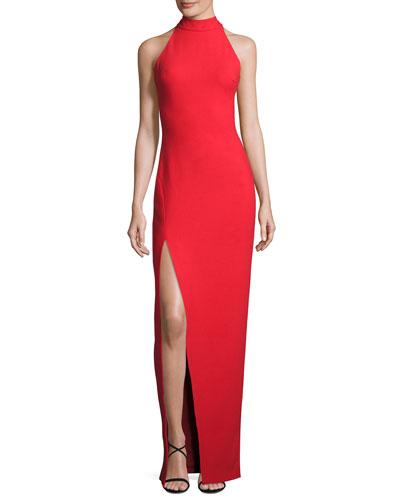 Nahlia High-Neck Gown, Venetian Red