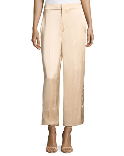 Double Satin Wide-Leg Pants, Beige