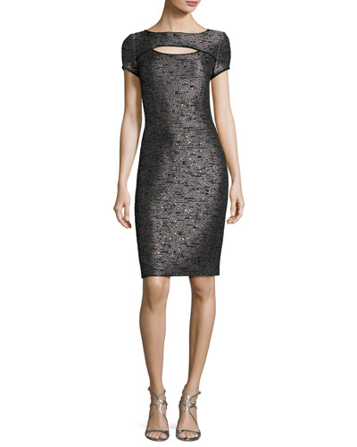 Anaya Sequined Short-Sleeve Dress, Black Metallic