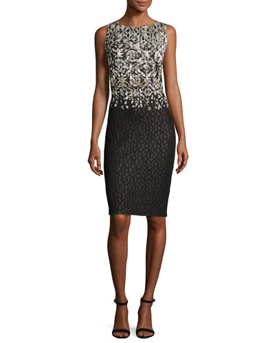 Metallic Pixelated Jacquard Pencil Dress, Black/Gold