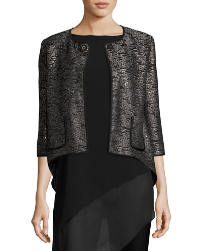 Anaya Sequined 3/4-Sleeve Jacket, Black Metallic