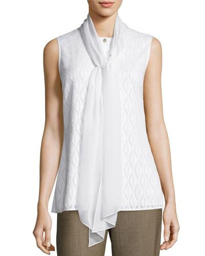 Diamondback Devoré Tie-Neck Shell, White